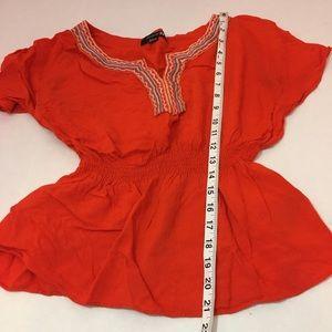 Forever 21 Tops - FOREVER 21 Red Blouse embroidered neckline medium